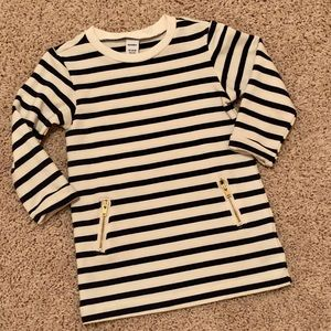 Navy blue and cream striped shift dress